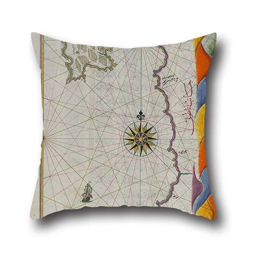 Oil Painting Piri Reis - Map Of The Island Of Bozjah (Tenedos) Off The Coast Of Anatolia Throw Pillow Case 20 X 20 Inch / 50 By 50 Cm Best Choice For Club,teens,girls,dance Room,chair,dining Room (Dark Rust Island)