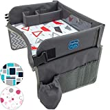 Kids Travel Play Tray by KENLEY KIDS | Car Seat Activity Tray | Waterproof, Food & Snack Tray with Tablet/iPad/Cup Holder | Back Seat Organizer | Padded & Portable (RED/Gray)