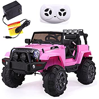 JAXPETY 12V Kids Ride On Car Truck Remote Control 3 Speed LED Pink