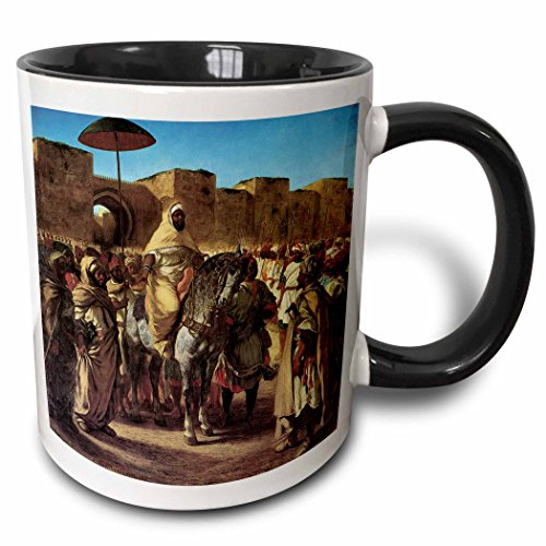 3dRose BLN Middle Eastern and Northern African Fine Art Collection - Sultan of Norocco Leaving His Palace by Eugene Delacroix - 15oz Two-Tone Black Mug (Palace Dinnerware Collection)