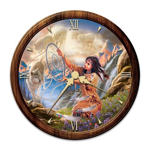 The Bradford Exchange Native American-Inspired Stained Glass Wall Clock Illuminating Spirits