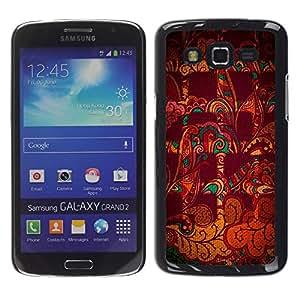 "Pulsar Snap-on Series Teléfono Carcasa Funda Case Caso para Samsung Galaxy Grand 2 II , Resumen a cuadros marrón Indian Pattern"""