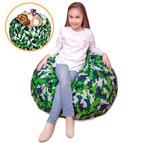 "Stuffed Animal Storage Bean Bag XXL – 100% Cotton Canvas Plush Toy Organizing Bag, Machine Washable, (38"", Green Camo)Comfortable & Soft Seat For Nursery 