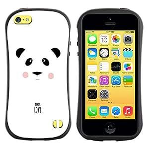 "Pulsar iFace Series Tpu silicona Carcasa Funda Case para Apple iPhone 5C , Panda Amor minimalista Blanco Negro Texto"""