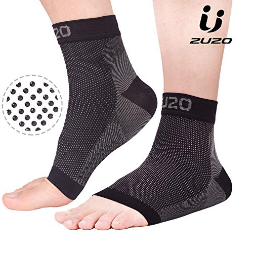 2U2O Compression Foot Sleeves for Men & Women- Plantar Fasciitis Socks with Non-Slip Grip- Eases Arch Pain, Swelling, Heel Spurs and Achilles Tendon ()