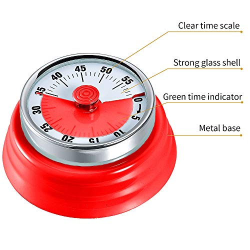 Kitchen Timer, Kitchen Countdown Cooking Timer Reminder, No Battery Required Magnetic Time Management Timer (Mechanical-Red)