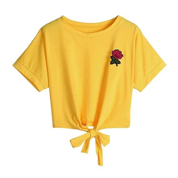 Cinnamou Camiseta para Mujer, Verano Camisetas Cortas Manga Corta Mujer Bordado de Rosas Camisas de