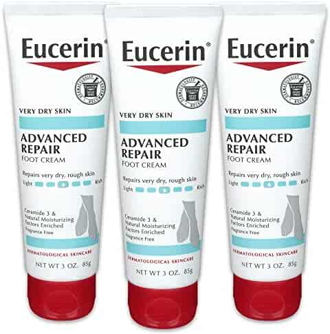 Eucerin Advanced Repair Foot Cream - Fragrance Free, Foot Lotion for Very Dry Skin - 3 oz. Tube (Pack of 3)