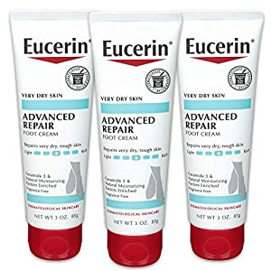 Eucerin Advanced Repair Foot Cream – Fragrance Free, Foot Lotion for Very Dry Skin – 3 oz. Tube (Pack of 3)