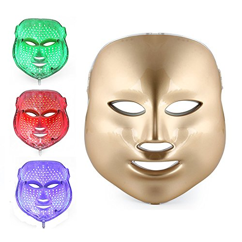 3 Color LED Mask Gold LED Light Therapy Treatment Facial Beauty Skin Care...