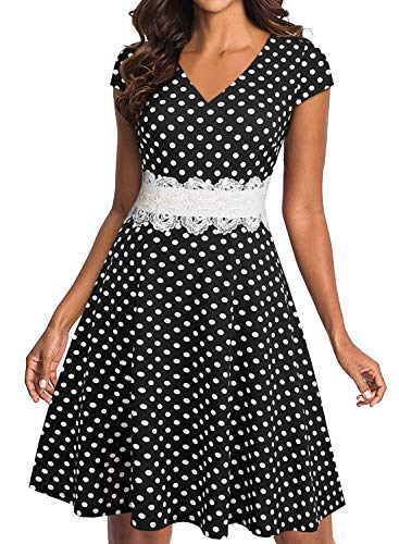 Polka Dot Wedding Dress - YATHON Black Polka Dot Dress for Women Cute Cap Sleeve V-Neck Knee Length Flower Lace Embroidery Swing A-Line Business Work Office Dresses (M, YT009-black dot)