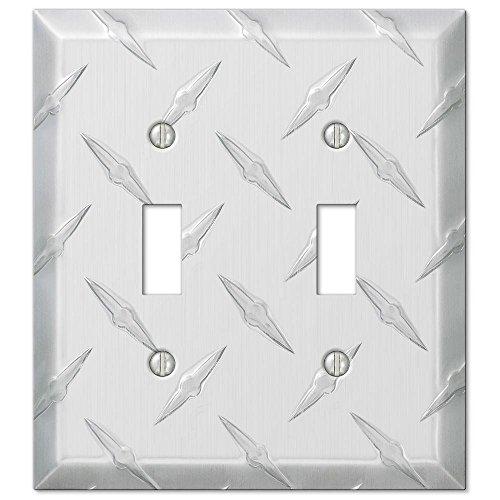 Diamond Cut 2 Toggle Wall Plate - Aluminum Cut Aluminum Diamond Plate