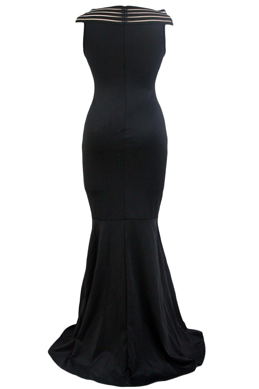 Black Off the Shoulder Sheer Stripe Fishtail Evening Gown size L UK 14