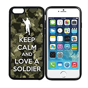 iPhone 6 (4.7 inch display) RCGrafix Keep Calm And Love A Soldier - Designer BLACK Case - Fits Apple iPhone 6- Protected Cell Phone Cover PLUS Bonus Iphone Apps Business Productivity Review Guide