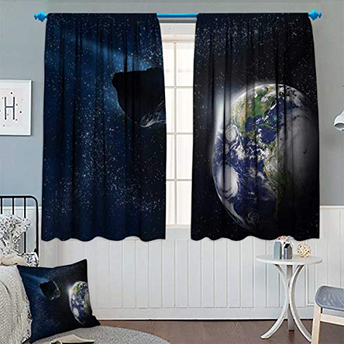 Chaneyhouse Galaxy Window Curtain Fabric Attack of The Asteroid Rocky Dark Body Comet on Planet Earth Meteor Shower Print Drapes for Living Room 55