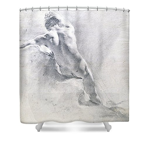 """Pixels Shower Curtain (74"""" x 71"""") """"Study Of A Male Nude"""""""