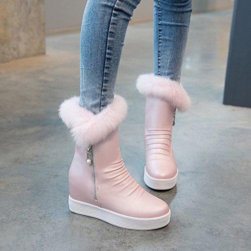 Show Shine Womens Platform Flats Hidden Wedges Heel Snow Boots Pink CaSw2