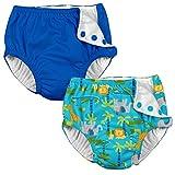 i play. 2PK Absorbent Reusable Toddler Swim Diapers Aqua Jungle and Royal Blue 3T