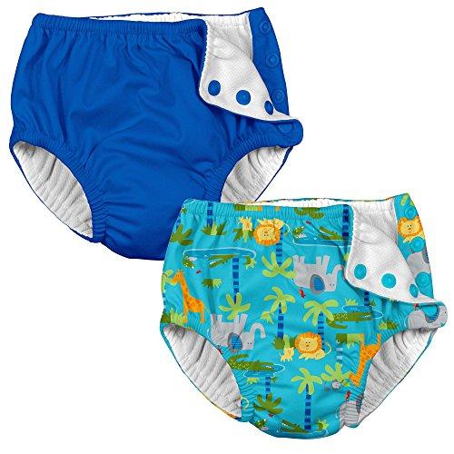 i play. 2 Pack Boy Reusable Baby Swim Diapers Aqua Jungle and Royal Blue 24 Mth