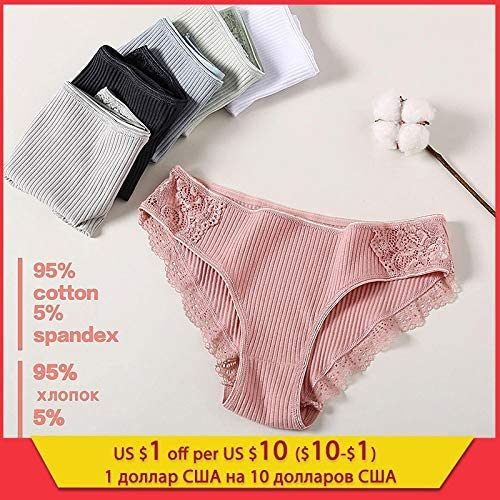 Zhichuang 綿パンティ3pcsの/ロットソリッド女性のパンティーコンフォート下着の女性のセクシーなローライズショーツインナーL XLのために皮膚に優しいブリーフ (色 : Set 10, サイズ : 3PCS)