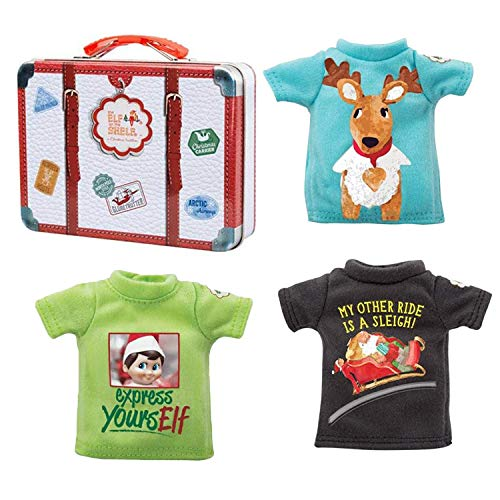 The Elf on the Shelf Clothing Set - 3 Tshirt Value Pack and Carrying Case - Three Stylish Tees for Boy Elf or Girl Elf (Elf On The Shelf Clothes For Elves)