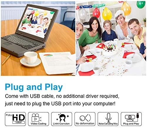 1080p Webcam with Microphone FHD Web Camera for Computers USB Video Streaming for PC Laptop Desktop Mac, No Delay Video Calling for Conference, Gaming, Online Classes 51NQd7yvtAL