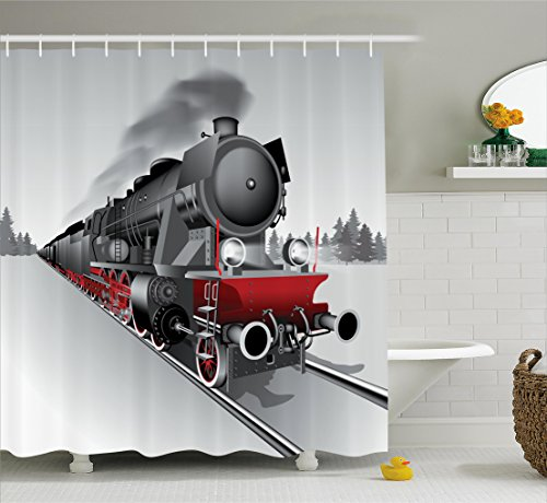 (Ambesonne Steam Engine Shower Curtain Set, Locomotive Red Black Train with Headlights on Steel Railway Track Graphic Print, Fabric Bathroom Decor with Hooks, 70 Inches, Red Grey)
