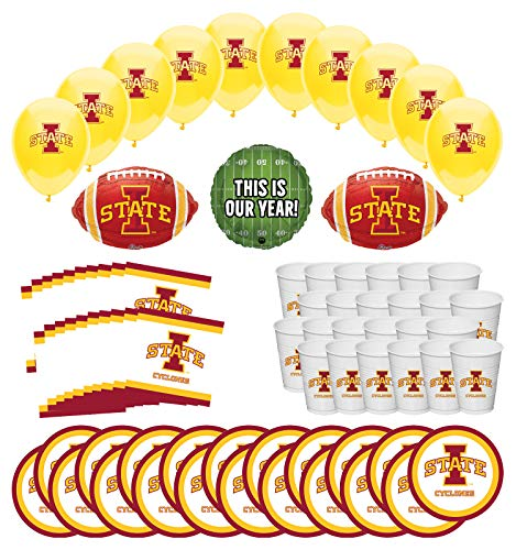 Mayflower Products Iowa State University Cyclones Football Tailgating Party Supplies for 20 Guest and Balloon Bouquet - Party State Kit Iowa