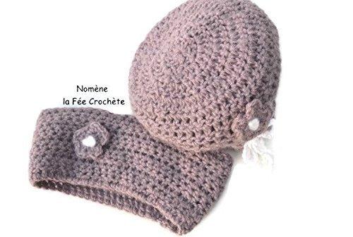 Ensemble romantique petite fille, bonnet et tour de cou, snood, au crochet  violet bc18168f004