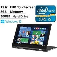 2016 Model Dell Inspiron 2-in-1 15.6 Full HD Convertible Touchscreen Laptop - Intel Dual-Core i5-6200U Processor, 8GB RAM, 500GB HDD, Backlit Keyboard, Wireless AC, Bluetooth, HDMI, Webcam, Win 10