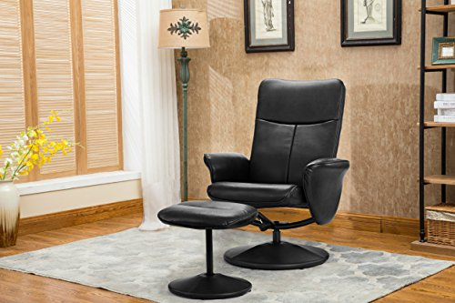 Modern Living Room Faux Leather Recliner Chair with Footstool , Reclining Swivel Office Chair, Gaming Chair (Black) - Leather Recliner Footstool