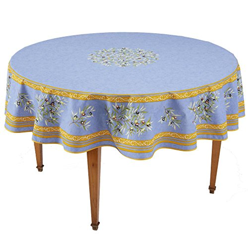 (Occitan Imports Clos des Oliviers Bleu Round French Tablecloth, Coated Cotton, 71 in diameter)