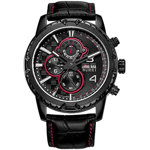 BUREI Men's Chronograph Wrist Watches with Sapphire Lens Dial Black Leather Strap