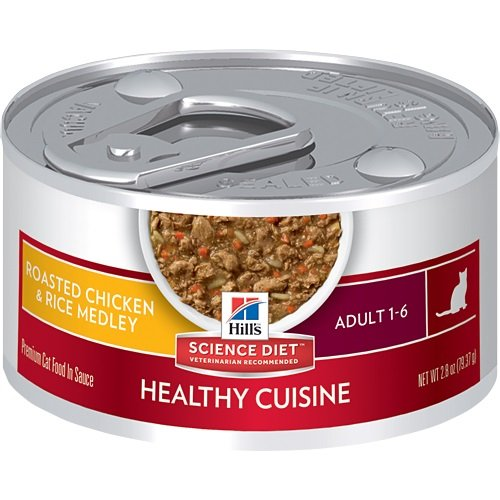 Hill's Science Diet Adult Healthy Cuisine Wet Cat Food, Roasted Chicken & Rice Medley Canned Cat Food, 2.8 oz, 24 Pack Hills Science Diet Healthy