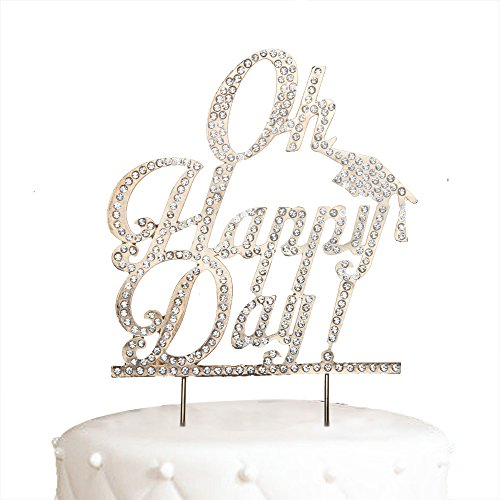 Oh Happy Day Cake Topper For Graduation Gold Crystal Rhinestone Party Decoration -