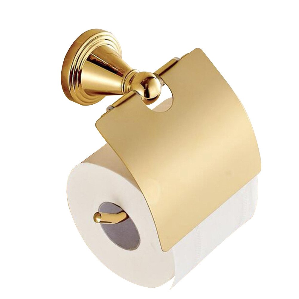 WINCASE Toilet Paper Holder Tissue Roll Holder, Waterproof for WC Exclusive Luxury Polished Gold finished Brass Construction Wall Mounted
