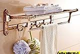 GGHYYO Towel shelf shower room kitchen Shelf Grilled Holder Lacquer Rose Gold Color Copper Tube Foldable Carved Flowers