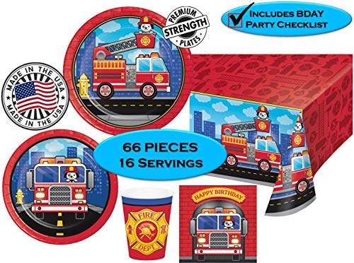 FLAMING FIRETRUCK Birthday Party Plates, Napkins, Cups + Tablecover - Firefighters, Dalmatian and Fire Trucks Birthday Party | 65 pieces |16 guests | MADE IN THE USA -