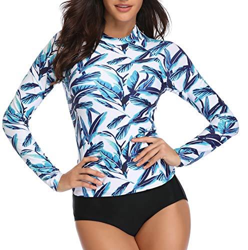 Women Tropical Leaves Printed Rash Guard Long Sleeve Active Top UPF 50+ Rashguard Swim Shirt Surf Swimwear White S rash guard bjj 4