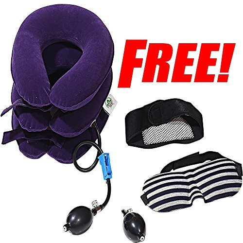 Hodilu Cervical Neck Traction Device – Improve Spine Alignment to Reduce Neck Pain – Cervical Pillow with Collar Adjustable | Bonus Extra Pump by HKP