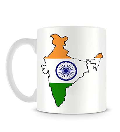 India Map Flag.Amazon Com Cool Indian Flag And Map Ashoka Chakra Mug Coffee Cups