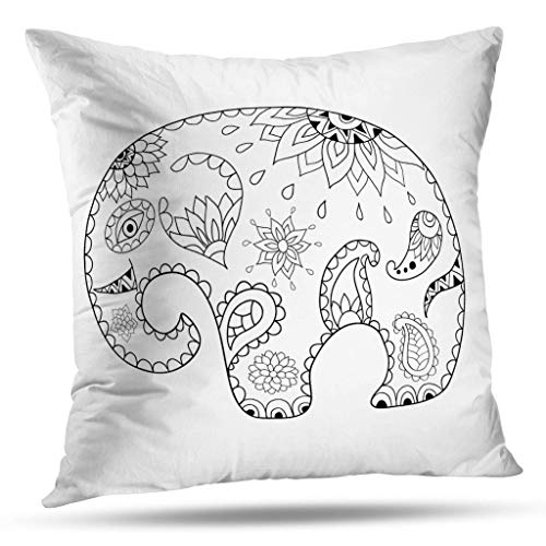 Geericy Aqua Pattern Decorative Throw Pillow Covers, Drawn Cartoon Elephant Stress Pattern Coloring Book Made Cushion Cover 18X18 Inch for Bedroom Sofa ()