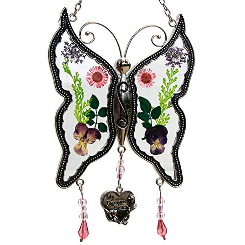 - My Precious Sister New Butterfly Suncatchers Glass Sister Wind Chime with Pressed Flower Wings Embedded in Glass with Metal Trim Sister Heart Charm Gifts for Sister Sister for Birthdays Christmas ...