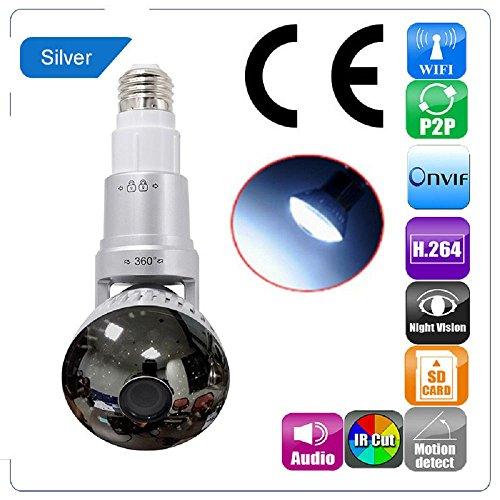 Price comparison product image EazzyDV IB 7 Series 960P HD Bulb Wifi IP Camera with LED Lighting Surveillance Camera IB-175WM