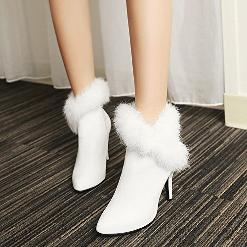 Booties Dress Latasa Heel High Toe Women's White Pointed gwZqYZUp