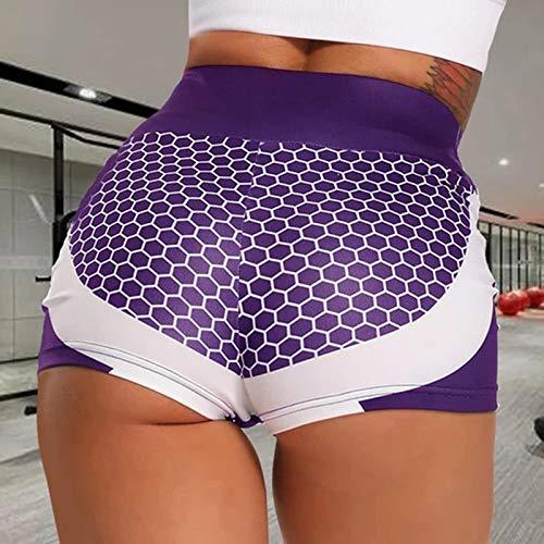 Pinkpaopao Women's Hive Plain Print Fitness Yoga Shorts High Waist Quick Dry Bike Slim Fit Stretch Sports Shorts Tight Pant(Purple,XL)