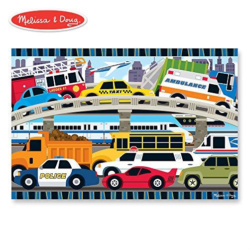 Construction Vehicles Shaped Puzzle - Melissa & Doug Traffic Jam Floor Puzzle (Beautiful Original Artwork, Sturdy Cardboard Pieces, 24 Pieces, 24