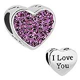 New Style Heart I Love You Charms Purple Swarovski element Birthstone Crystal Beads Fit Bracelet