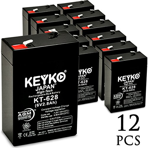 KEYKO Genuine KT-628 6V 2.8Ah Battery SLA Sealed Lead Acid / AGM Replacement - F1 Terminal - 12 Pack by KEYKO