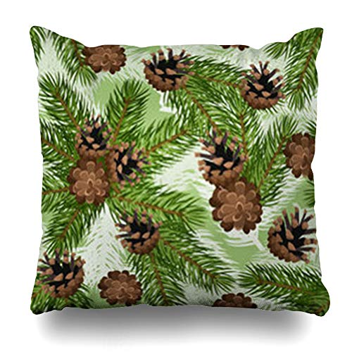 Homeyard Throw Pillow Cover Beige Pine Fir Tree Branches Cones Holidays Brown Branch Pattern Christmas Twig Xmas Green Cone Home Decor Sofa Cushion Square Size 18 x 18 Inches Zippered Pillowcase from Homeyard